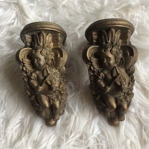 Gold angels wall candle holder